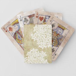Vintage floral blanco baraja cartas de poker