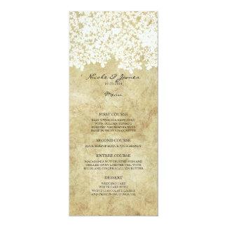 Vintage floral blanco invitación 10,1 x 23,5 cm