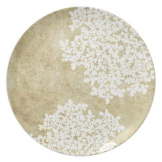 Vintage floral blanco plato para fiesta