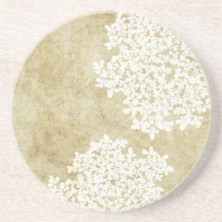 Vintage floral blanco posavasos diseño