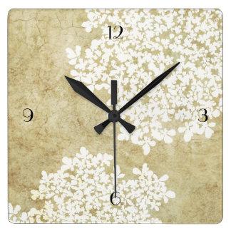 Vintage floral blanco reloj cuadrado