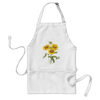 Vintage Floral Blanket Flower Sunflower by Redoute Adult Apron