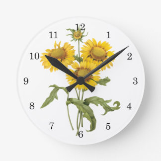 Vintage Floral Blanket Flower Sunflower by Redoute Round Wallclocks