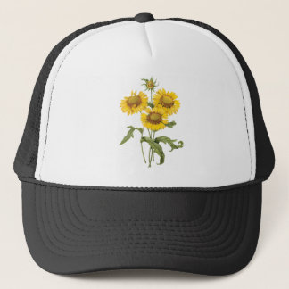 Vintage Floral Blanket Flower Sunflower by Redoute Trucker Hat