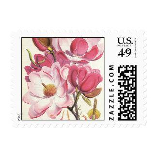 Vintage Floral, Blooming Pink Magnolia Flowers Postage Stamps
