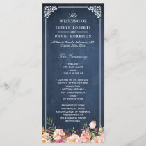 Vintage Floral Blue Chalkboard Wedding Program