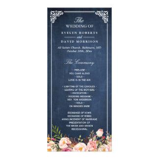Vintage Floral Blue Chalkboard Wedding Program