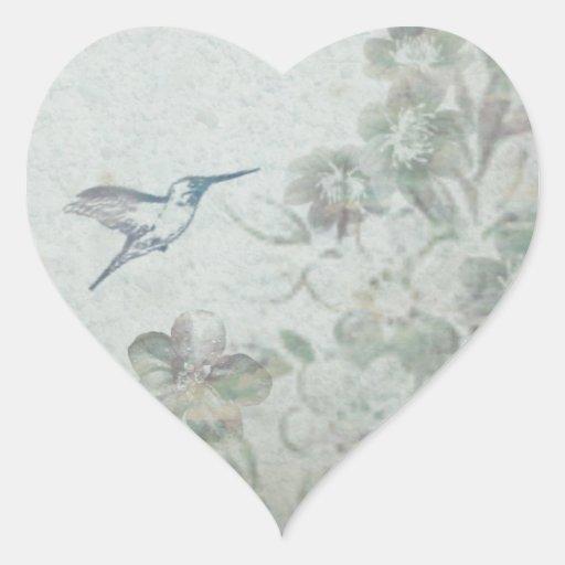 Vintage Floral Blue Heart Sticker
