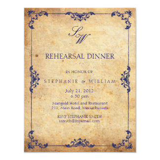 Vintage Floral Blue Monogram Rehearsal Dinner Card