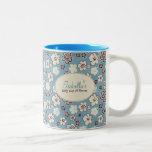 Vintage Floral Blue Pattern Coffee Mug