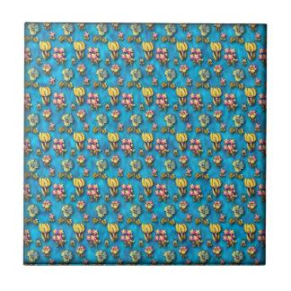 Vintage floral blue pattern tile