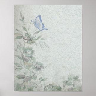 Vintage Floral Blue Poster