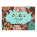 Vintage Floral Blue Teal Brown Gift Card Business Card Template