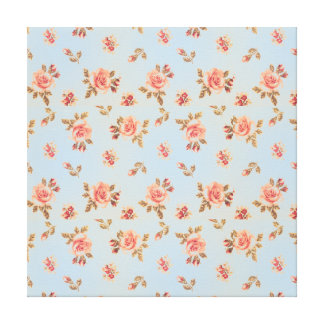 Vintage floral blue victorian girly shabby chic gallery wrap canvas