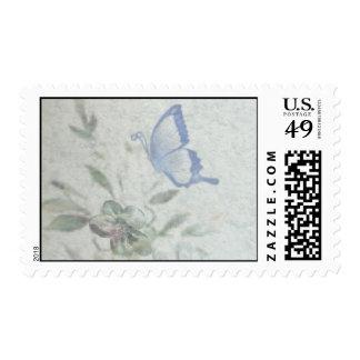 Vintage Floral Blue Wedding Postage Stamps
