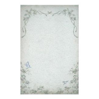 Vintage Floral Blue Wedding Stationery Design