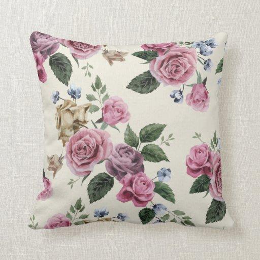 Blush Rose Throw Pillows : Vintage Floral Blush Pink & Lavender Rose Flowers Throw Pillow Zazzle