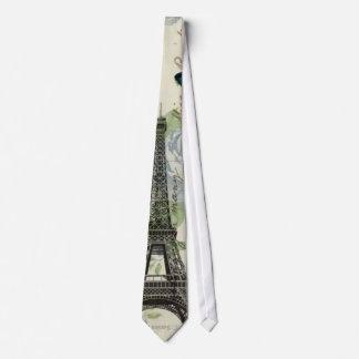 Vintage Floral Bohemian Chic Paris Eiffel Tower Neck Tie
