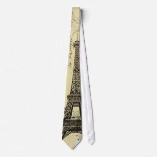 Vintage Floral Bohemian Chic Paris Eiffel Tower Tie