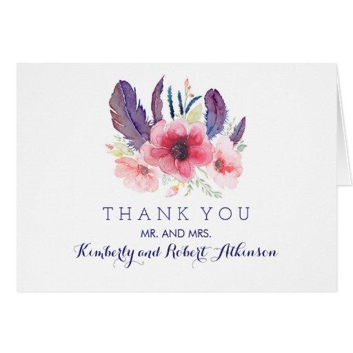 Vintage Floral Boho Watercolor Wedding Thank You Card Zazzle