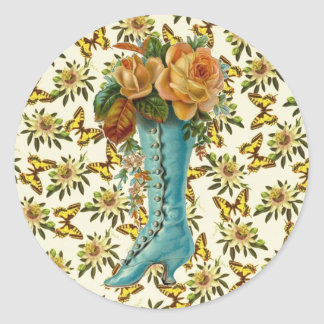 Vintage Floral Boot Classic Round Sticker