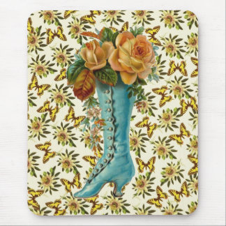 Vintage Floral Boot Mouse Pad