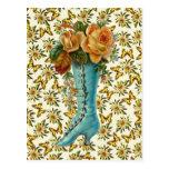 Vintage Floral Boot Postcards