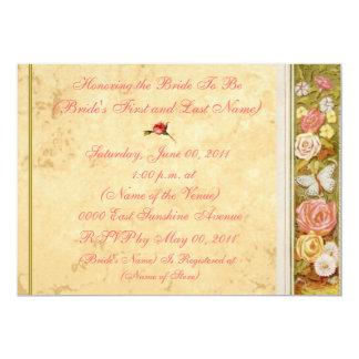 Vintage Floral Border Bridal Shower Invitation