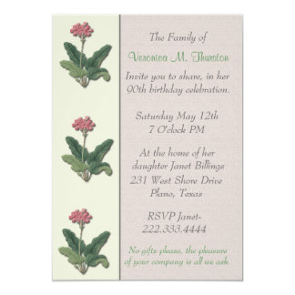 "Vintage Floral Botanical Birthday party Invitation 5"" X 7"" Invitation Card"