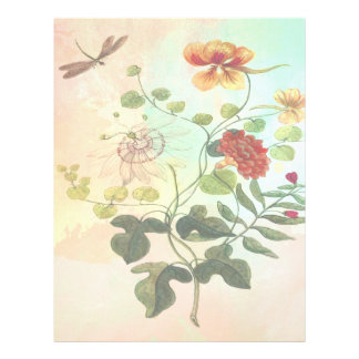 Vintage Floral Botanical Illustration Flowers Art Letterhead