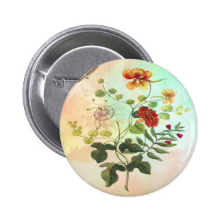 Vintage Floral Botanical Illustration Flowers Art Pinback Button