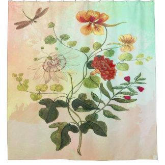 vintage floral botanical flowers art shower curtain
