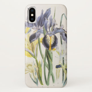 Vintage Floral Botany, Garden Iris Flowers iPhone X Case