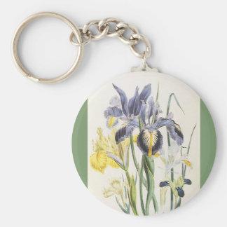 Vintage Floral Botany, Garden Iris Flowers Keychain