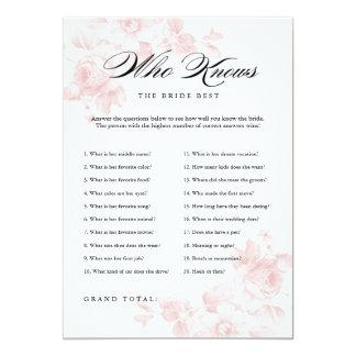 Vintage floral | Bridal Shower Game Card