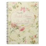Vintage Floral-Bridal Shower Guest Book- Spiral Note Book