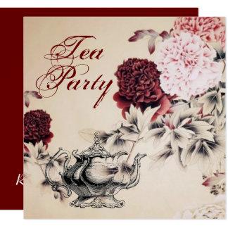 Vintage Floral Bridal Shower Tea Party Invitation
