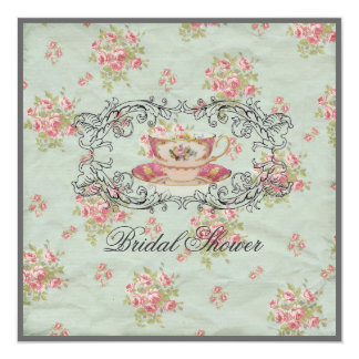 vintage floral Bridal Shower Tea Party Invitation