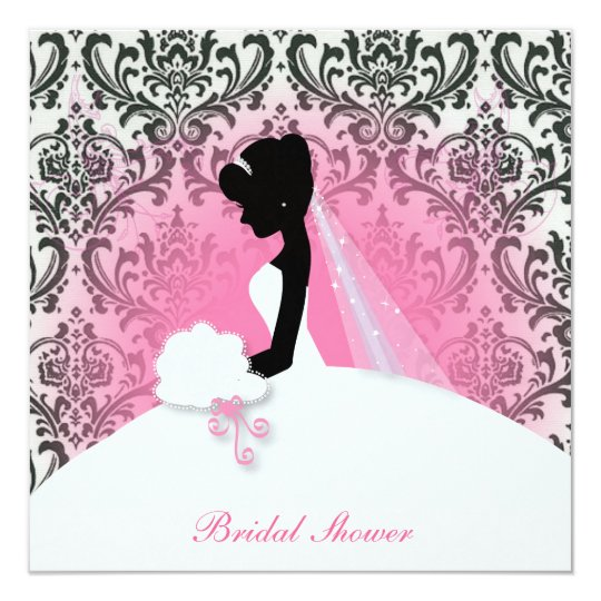 Vintage Floral Bride Silhouette Bridal Shower Invitation