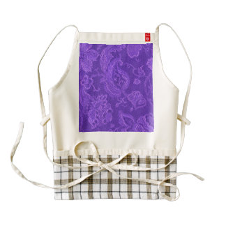 Vintage Floral Brocade Amethyst Purple Zazzle HEART Apron