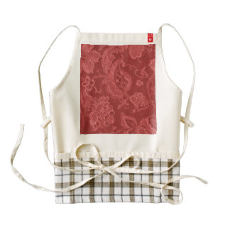 Vintage Floral Brocade Aurora Red Zazzle HEART Apron