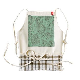 Vintage Floral Brocade Mint Zazzle HEART Apron
