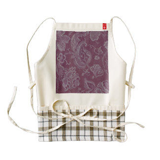 Vintage Floral Brocade Plum Rouge Zazzle HEART Apron