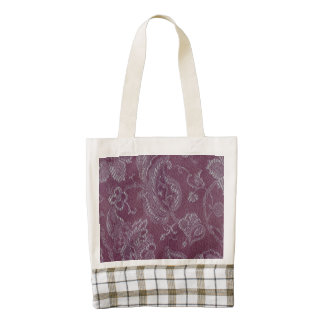 Vintage Floral Brocade Plum Rouge Zazzle HEART Tote Bag