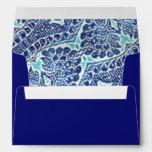 Vintage Floral Brocade Teal Blue Envelope