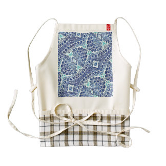 Vintage Floral Brocade Teal Blue Zazzle HEART Apron