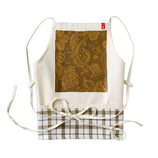 Vintage Floral Brocade Yellow Gold Zazzle HEART Apron