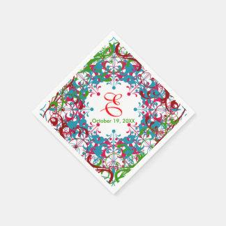 Vintage Floral Brown Green Teal Wedding Design Paper Napkins