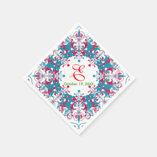 Vintage Floral Brown Teal Blue Wedding Design Paper Napkins
