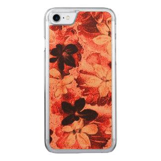 Vintage Floral Burnt Orange Violets Flowers Carved iPhone 7 Case